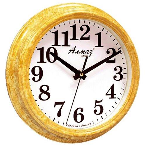 Часы настенные кварцевые Алмаз C51-C54 желтый/белый часы настенные кварцевые алмаз c51 c54 коричневый белый