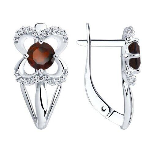 Diamant Серьги из серебра с гранатами и фианитами 94-320-00381-2