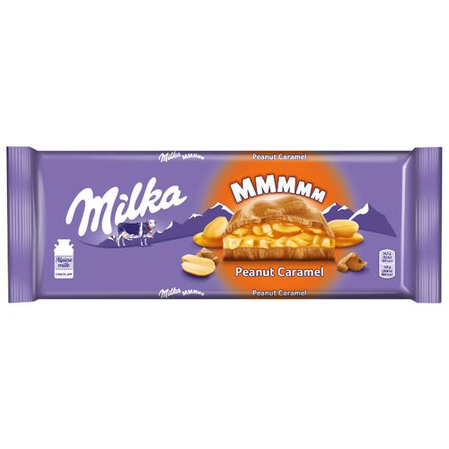 Шоколад Milka молочный с карамельной начинкой с арахисом и с арахисовой начинкой с воздушным рисом и кусочками арахиса, 276 г