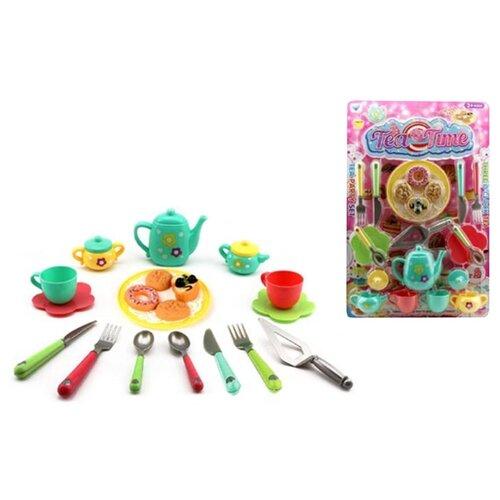 Набор продуктов с посудой Наша игрушка HY-683A голубой/желтый/красный набор продуктов с посудой наша игрушка в корзинке xs16003b голубой розовый белый