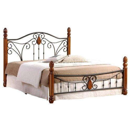 Кровать TetChair AT-9003 двуспальная, размер (ДхШ): 210х147.6 см, спальное место (ДхШ): 200х140 см, каркас: массив дерева, цвет: черный/коричневый