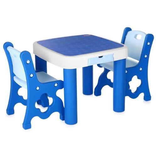 цена на Комплект Edu-play стол + 2 стула TB-9945 60x60 см blue