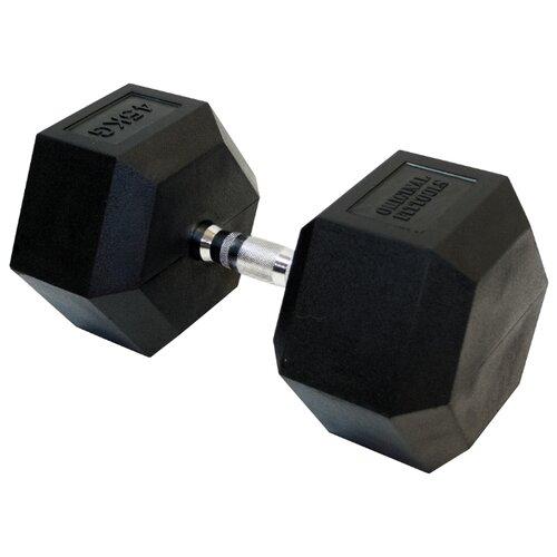 Гантель неразборная Original FitTools FT-HEX-45 45 кг хром/черный гантель гексагональная original fit tools обрезиненная хромированная ручка 2 кг ft hex 02