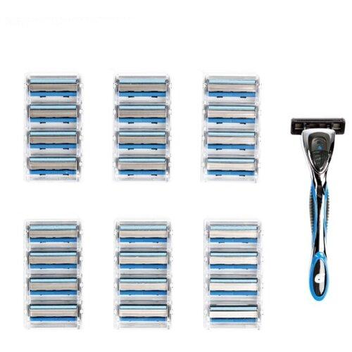 цена Бритвенный станок Настоящий мужчина М6, сменные кассеты 25 шт. онлайн в 2017 году