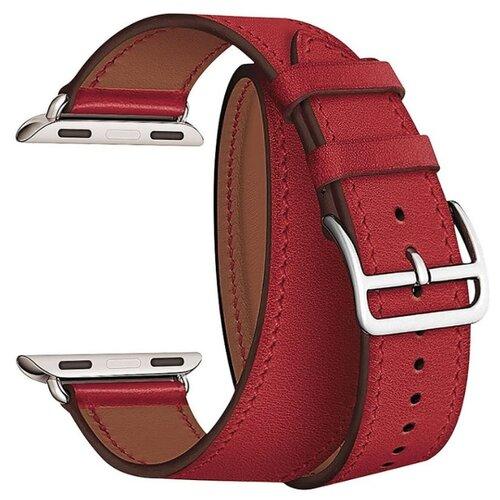Купить Lyambda Ремешок двойной кожаный Meridiana для Apple Watch 42/44 mm красный