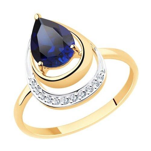 Diamant Кольцо из золота с корундом (синт.) и фианитами 51-310-00527-3, размер 17.5 фото