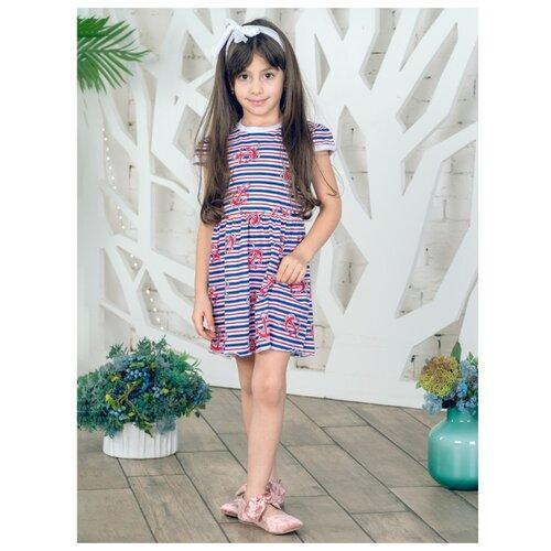 Платье Дашенька размер 86, белый/синий/красный