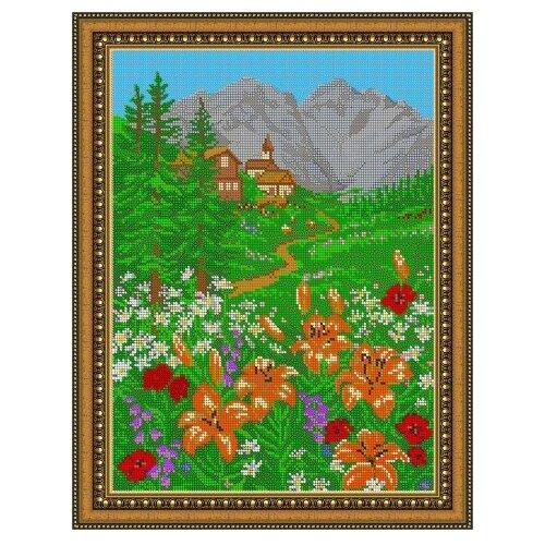 Купить Диамант Набор алмазной вышивки Вид на горы (ДК-080П) 30х38 см, Алмазная вышивка