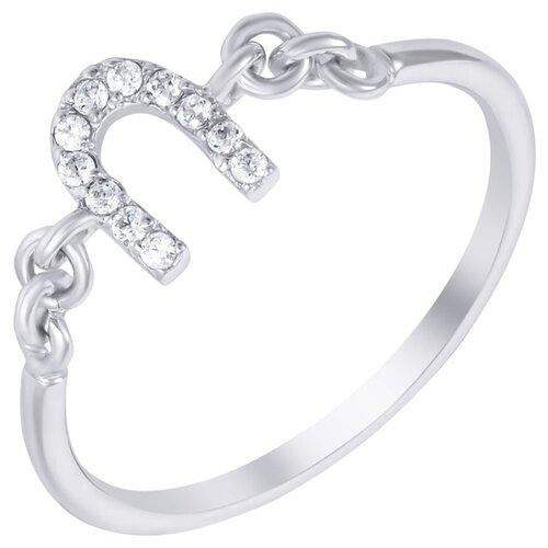 ELEMENT47 Кольцо из серебра 925 пробы с кубическим цирконием R140163A_001_WG, размер 18