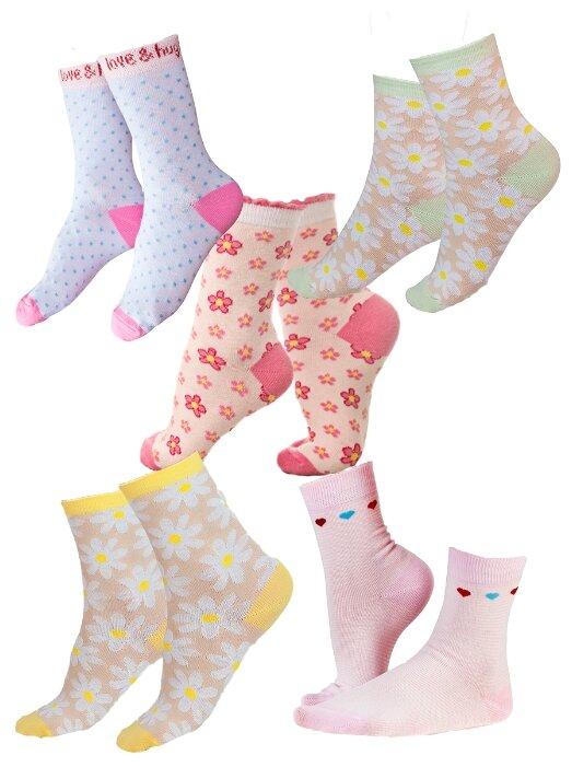 Купить Носки IDILIO комплект 5 пар размер 18-20 см, желтый/зелёный/белый/розовый/розовый по низкой цене с доставкой из Яндекс.Маркета (бывший Беру)
