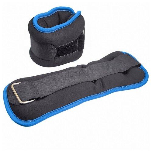 HKAW104-5 Утяжелители ALT Sport (2х1,0кг) (нейлон) в сумке (черный с синей окантовкой)