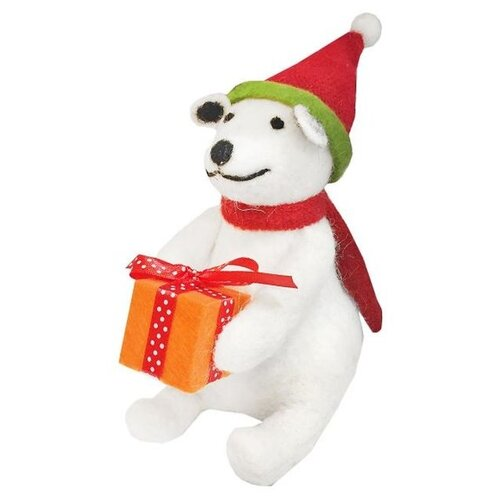 Фигурка Новогодняя Сказка Мишка с подарком 13 см (973171) белый