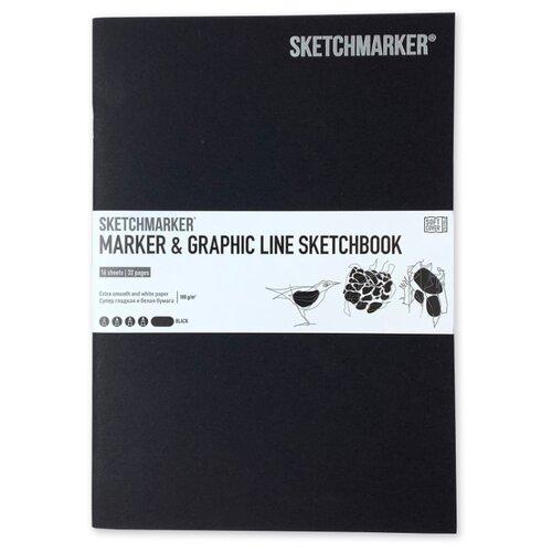 Фото - Скетчбук SketchMarker Marker&Graphic Line 25 х 17.6 см, 180 г/м², 16 л. черный блокнот graphic frankfurt l 256 стр 16 5 х 22 см 120 г м2