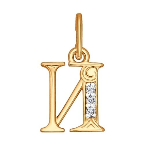 SOKOLOV Кулон-буква «И» с фианитами 033819