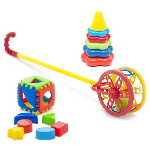 Купить Набор развивающий Каталка Колесо 40-0032 + Игрушка Кубик логический малый 40-0011 + Пирамида детская малая 40-0046, Karolina toys, Развивающие игрушки