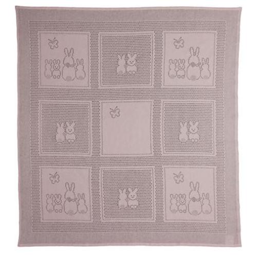 Купить Плед MYB Bunny Squares 76х102 см розовый, Покрывала, подушки, одеяла