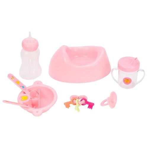 Купить Набор для кормления Mary Poppins Уроки заботы 453147 розовый, Аксессуары для кукол