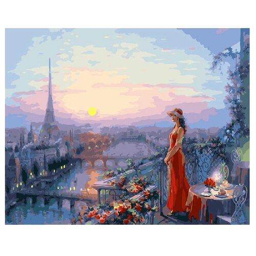 Купить ВанГогВоМне Картина по номерам Дама в красном на веранде , 40х50 см (ZX 22032), Картины по номерам и контурам