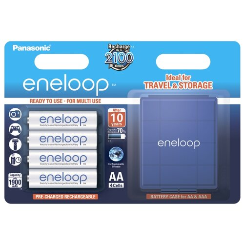 Фото - Аккумулятор Ni-Mh 1900 мА·ч Panasonic eneloop AA + кейс 4 шт блистер зарядное устройство makita dc18rc 7 2 18в ni mh 14 4 18в li ion