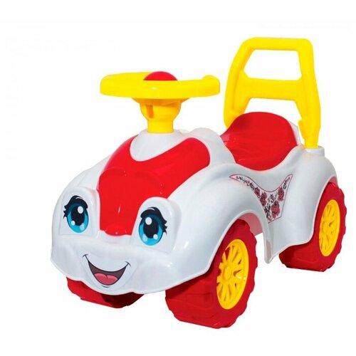 Купить Каталка-толокар ТехноК Автомобиль для прогулок (3503) со звуковыми эффектами белый/красный, Каталки и качалки