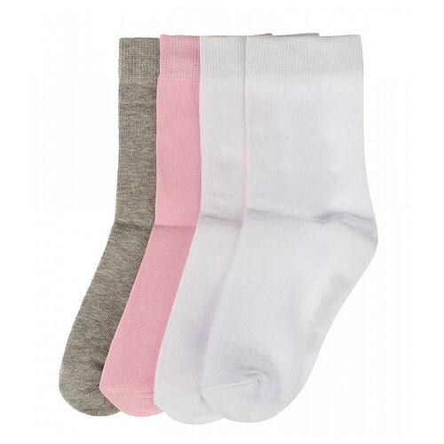 Носки Oldos комплект из 4 пар, размер 23-25, серый/розовый/белый/белый