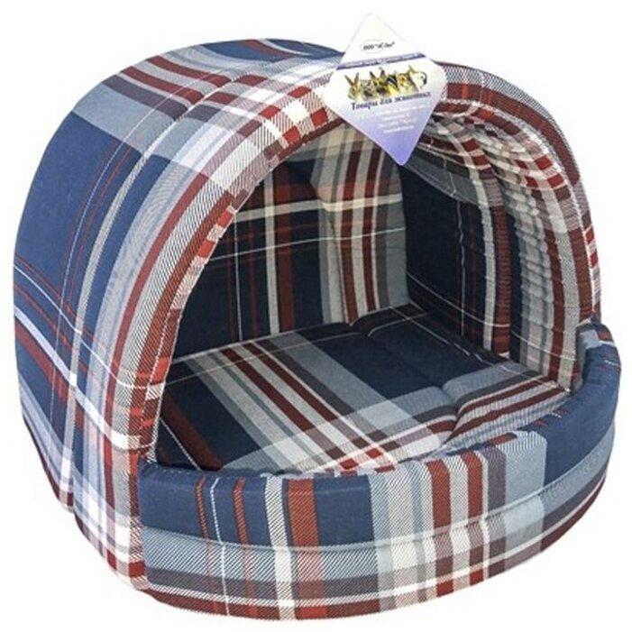 Бобровый дворик Лежак для собак и кошек эстрада, шотландка синяя. размер №1 ( 41*36*30см)__