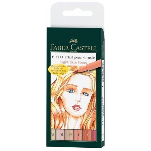 цена на Faber-Castell набор капиллярных ручек Pitt Artist Pen Brush Light Skin, 6 цветов, 6 шт., разноцветный цвет чернил