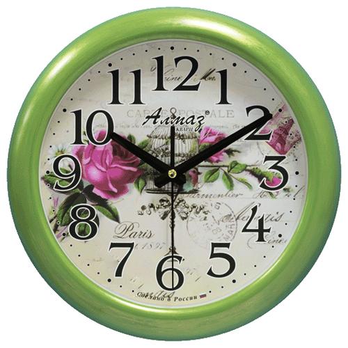 Часы настенные кварцевые Алмаз H64 зеленый/бежевыйЧасы настенные<br>