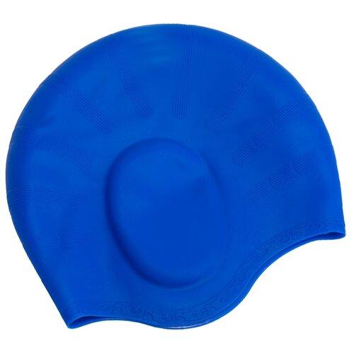 Шапочка для плавания BRADEX силиконовая с выемками для ушей синий bradex шапочка для плавания bradex полиамид синий