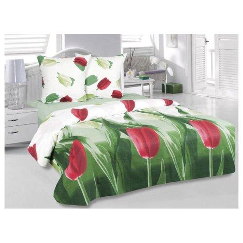 цена на Постельное белье евростандарт ТЕТ-А-ТЕТ Тюльпаны, бязь зеленый/белый/красный
