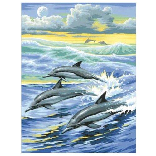 Купить Алмазная живопись Набор алмазной вышивки Семья дельфинов (АЖ-1062) 30х39 см, Алмазная вышивка