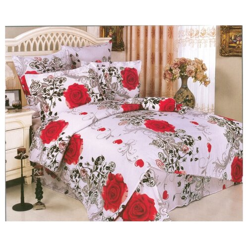 цена Постельное белье 2-спальное СайлиД A-75, поплин белый/красный онлайн в 2017 году