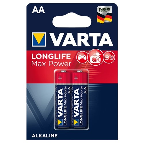 Фото - Батарейка VARTA LONGLIFE Max Power AA 2 шт блистер батарейка varta longlife power 3lr12 1 шт блистер