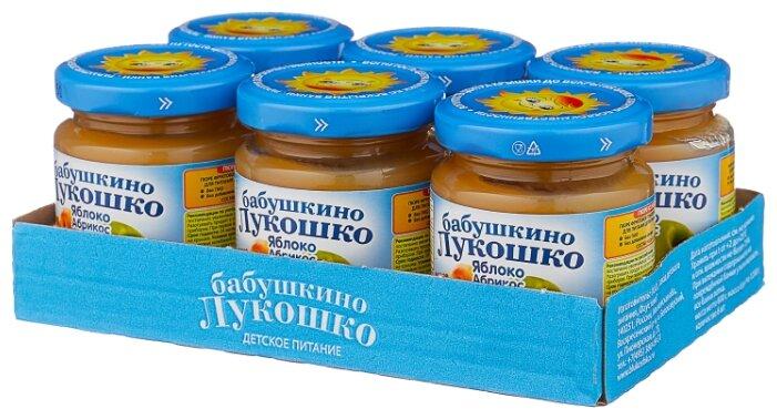 Пюре Бабушкино Лукошко яблоко-абрикос (с 5 месяцев) 100 г, 6 шт.