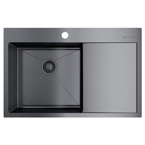 Врезная кухонная мойка 78 см OMOIKIRI Akisame 78-GM-L вороненая сталь врезная кухонная мойка 78 см omoikiri akisame 78 in l нержавеющая сталь