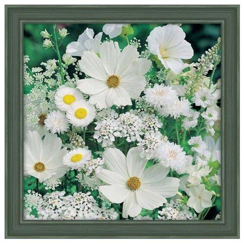 Алмазная живопись Набор алмазной вышивки Белые полевые цветы (АЖ-1195) 50x50 см