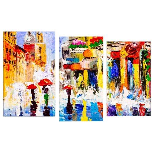 Модульная картина Картиномания Красочная дождливая ночь 140х90 смКартины, постеры, гобелены, панно<br>