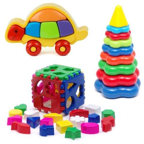 Купить Набор развивающий: Логическая черепашка (15-5877) + Игрушка Кубик логический большой (40-0010) + Пирамида детская большая (40-0045), Karolina toys, Сортеры