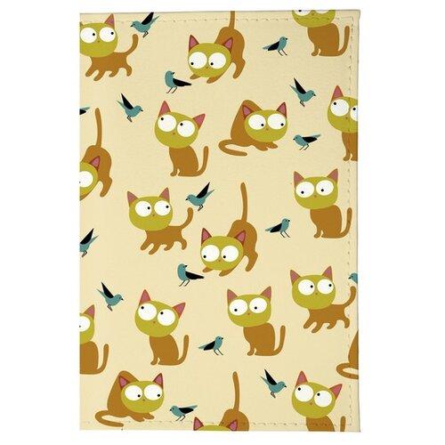 Обложка для паспорта Mitya Veselkov Рыжие кошки OZAM199, бежевый/оранжевый