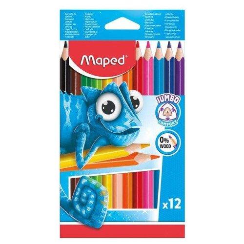 Купить Maped Цветные карандаши Pulse Jumbo 12 цветов (834352)