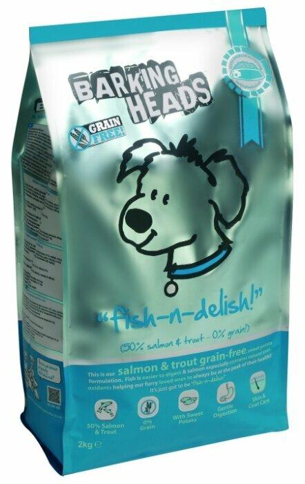 Корм для собак Barking Heads Беззерновой корм для собак с лососем, форелью и бататом Рыбка-вкусняшка (6 кг)