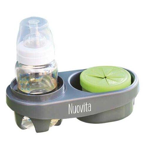 Nuovita Двойной держатель для бутылочек Doppio серый аксессуары для колясок nuovita двойной держатель для бутылочек doppio