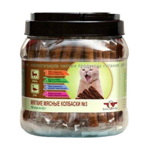 Лакомство для кошек Green Qzin Подвижность №3 Мягкие мясные колбаски Олень и Утка, 6.5г х 100шт. в уп. 650 г