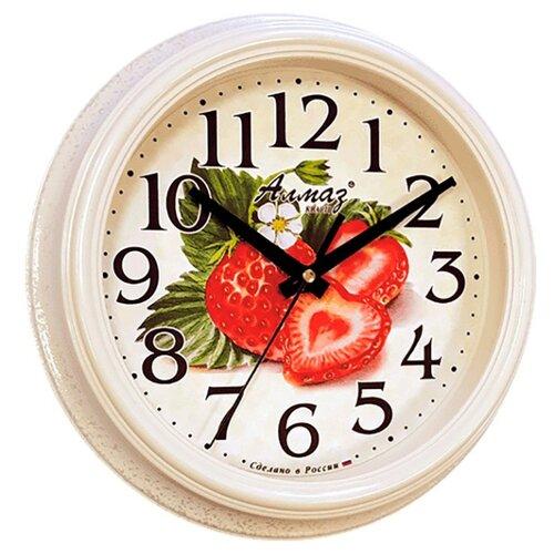 Часы настенные кварцевые Алмаз C28 белый часы настенные кварцевые алмаз p12 золотистый белый