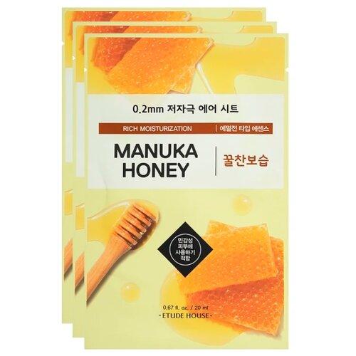 Etude House тканевая маска 0.2 Therapy Air Mask Manuka Honey с экстрактом меда манука, 20 мл, 3 шт. тканевая маска для лица с экстрактом меда 0 2 therapy air mask manuka honey 20мл