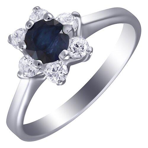 ELEMENT47 Кольцо из серебра 925 пробы с сапфиром и кубическим цирконием GRE1376_KO_SA_001_WG, размер 17