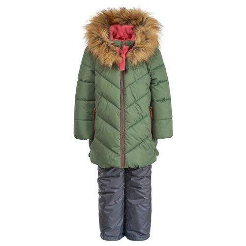 Купить Комплект с полукомбинезоном Oldos Симона OAW192T1SU53 размер 104, зеленый/розовый, Комплекты верхней одежды