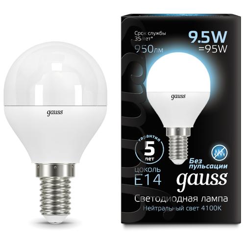 Лампа светодиодная gauss 105101210, E14, G45, 9.5Вт лампа светодиодная gauss 105101210 e14 g45 9 5вт