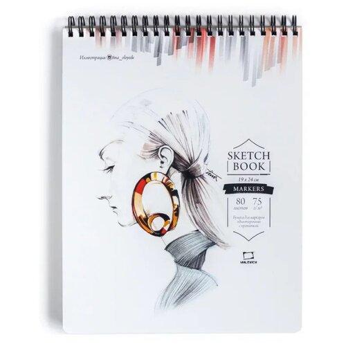 Купить Скетчбук для маркеров Малевичъ Sketch 24 х 19 см, 75 г/м², 80 л., Альбомы для рисования