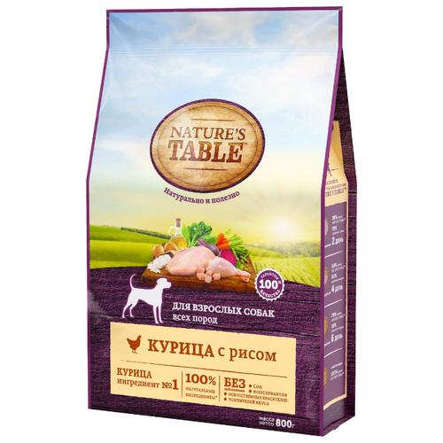 Корм для собак Natures Table (0.8 кг) Для взрослых собак всех пород курица с рисом сухойКорма для собак<br>